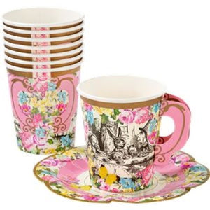 Truly Alice Cups with Saucers I Talking Tables I Alice in Wonderland or Mad Hatters Themed Party I My Dream Party Shop I UK