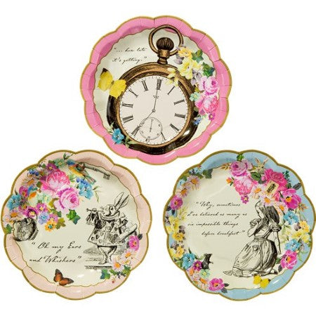 Truly Alice Small Paper Plates 17cm I Talking Tables I Alice in Wonderland Party Tableware & Decorations I My Dream Party Shop I UK