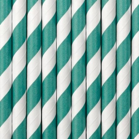Turquoise and White Striped Straws I Modern Turquoise Party Tableware I My Dream Party Shop UK