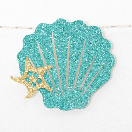 "Turquoise Glitter Sea Themed ""Happy Birthday"" Garland I Shell Themed Decorations I My Dream Party Shop I UK"