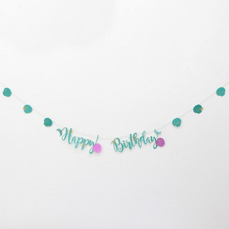 "Turquoise Glitter Sea Themed ""Happy Birthday"" Garland I Sea Themed Decorations I My Dream Party Shop I UK"