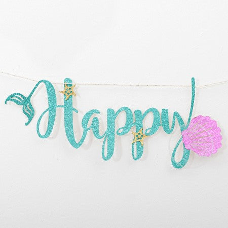"Turquoise Glitter Sea Themed ""Happy Birthday"" Garland I Mermaid Themed Decorations I My Dream Party Shop I UK"