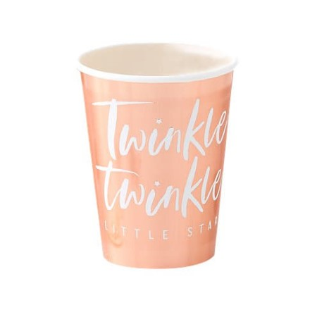 Twinkle Twinkle Little Star Rose Gold Foiled Cups Ginger Ray I 1st Birthday or Baby Shower Party Tableware and Decorations I My Dream Party Shop I UK