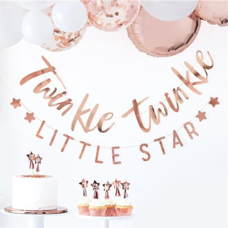 Twinkle Twinkle Little Star Gold Foil Garland I Ginger Ray I Christening Party Tableware I My Dream Party Shop I UK