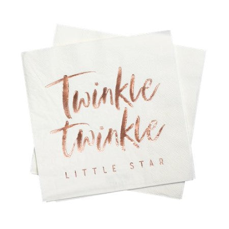 Twinkle Twinkle Rose Gold Paper Napkins I Ginger Ray I Christening or First Birthday Tableware & Decorations I My Dream Party Shop I UK