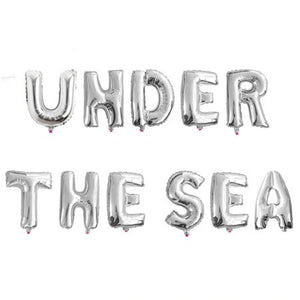"""Under the Sea"" Silver Foil Phrase Balloon Bunting I Under the Sea Party Decorations & Balloons I My Dream Party Shop I UK"