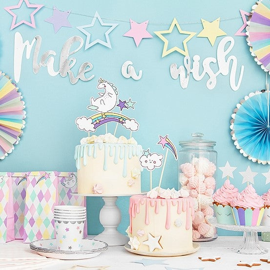 Make A Wish Pastel Stars Garland Bunting I Unicorn Party Supplies I My Dream Party Shop I UK
