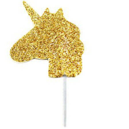 Unicorn Gold Glitter Cake Topper - 3.5cm - My Dream Party Shop