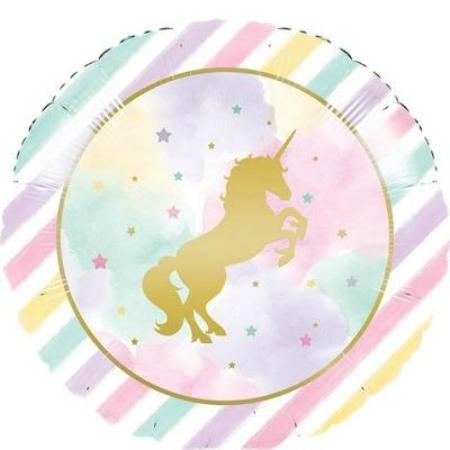 Round Unicorn Pastel and Gold Sparkle 18 inch Foil Balloon - My Dream Party Shop