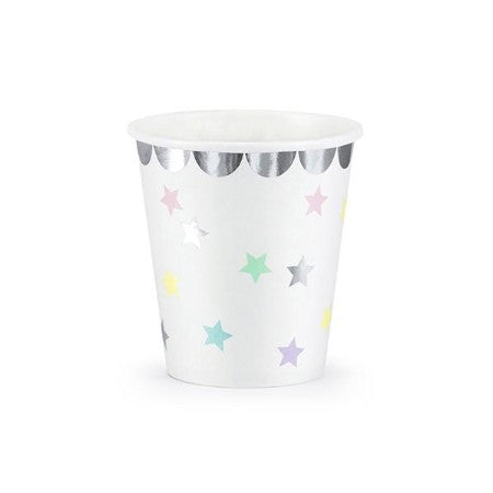 White Cups with Pastel Stars and Silver Border - My Dream Party Shop