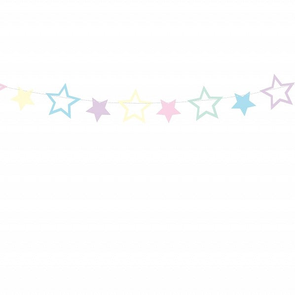 Pastel Stars Garland Bunting I Unicorn Party Decorations and Tableware I My Dream Party Shop I UK
