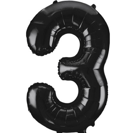 Gigantic Black Foil Number 3 Balloon 34 Inches I Party Balloons I My Dream Party Shop UK