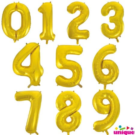 Gigantic Gold Foil Number Balloons, 34 Inches