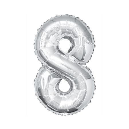 Gigantic Silver Foil Number Balloons, 34 Inches I Silver Number Eight Balloon I UK
