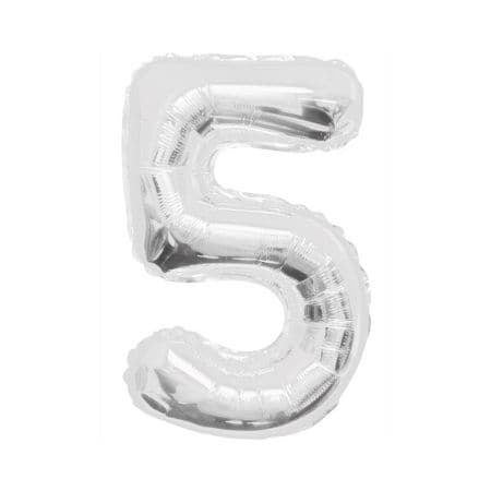 Gigantic Silver Foil Number Balloons, 34 Inches I Silver Number Five Balloon I UK