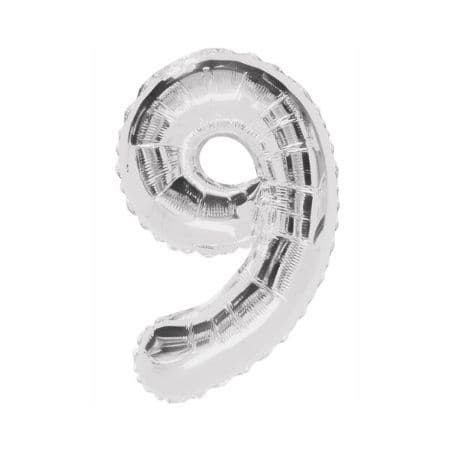 Gigantic Silver Foil Number Balloons, 34 Inches I Silver Number Nine Balloon I UK