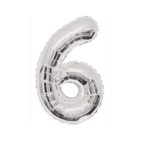 Gigantic Silver Foil Number Balloons, 34 Inches I Silver Number Six Balloon I UK