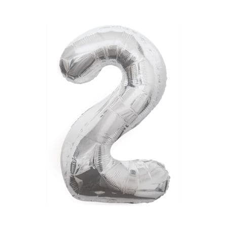 Gigantic Silver Foil Number Balloons, 34 Inches I Silver Number Two Balloon I UK