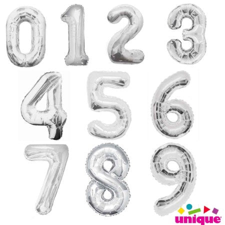 Giant Silver Foil Number Balloons, 34 Inches I My Dream Party Shop I UK