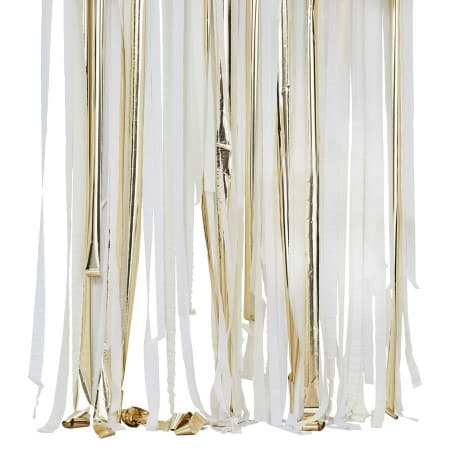 White, Cream and Gold Streamer Backdrop I White and Gold Party Decorations I My Dream Party Shop UK