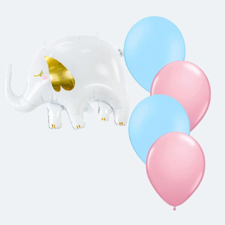 White and Gold Elephant Helium Balloons (Helium Inflated for Collection)