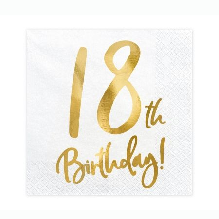 18th Birthday Napkins I Modern 18th Birthday Party Supplies I My Dream Party Shop UK