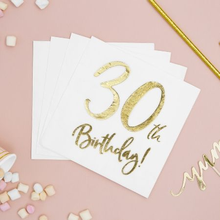 30th Birthday Napkins I Modern 30th Birthday Party Supplies I My Dream Party Shop UK