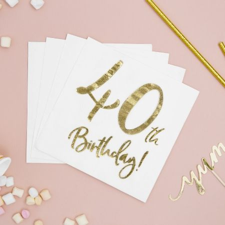 40th Birthday Napkins I Modern 40th Birthday Party Supplies I UK