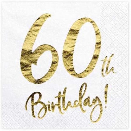 60th Birthday Napkins I Modern 60th Birthday Party Supplies I My Dream Party Shop UK