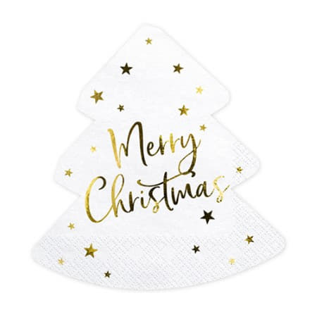 White and Gold Tree Shaped Merry Christmas Napkins I UK