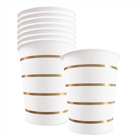 White Party Cups with Gold Stripes x 8 - My Dream Party Shop
