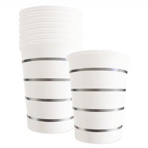 White Party Cups with Silver Stripes x 8 - My Dream Party Shop