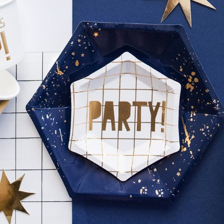 Small Canape White and Gold Hexagonal Party Plates I My Dream Party Shop I UK