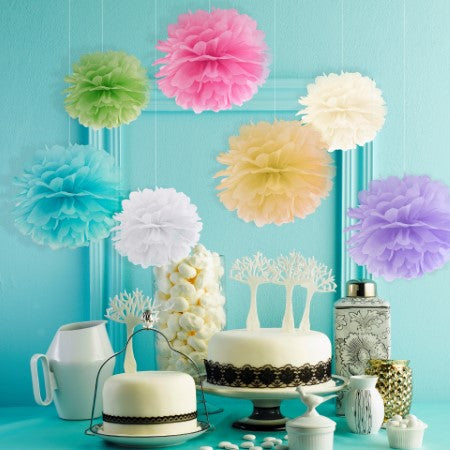 White Tissue Pom Pom Party Decoration I My Dream Party Shop I UK