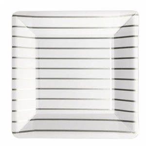 Large Square White Party Buffet Plates with Silver Stripes - My Dream Party Shop