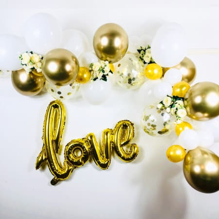 White and Gold Balloon Garland Kit I Wedding Balloon Garland Kit I UK
