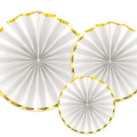 White and Gold Rosette Fans I Set of Three White Fans with a Gold Foil Border I UK