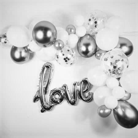 White and Silver Balloon Garland Kit I Modern Balloon Decorations I UK