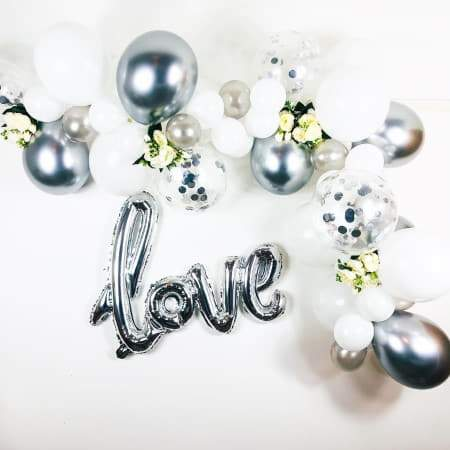 White and Silver Balloon Garland Kit I Wedding Balloon Decorations I UK