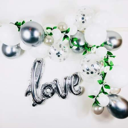 White and Silver Balloon Garland Kit I Wedding Decorations I UK