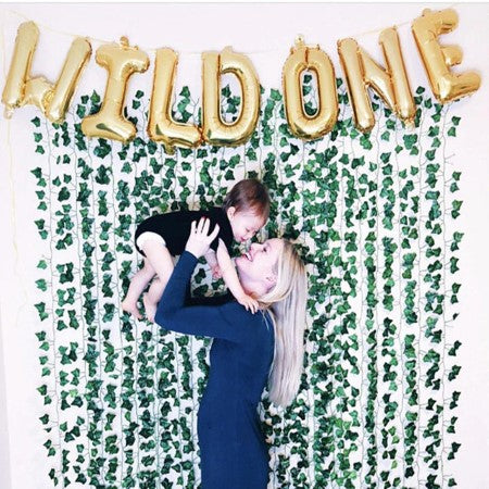 """Wild One"" Gold Foil Phrase Balloon Bunting I Cool Birthday Balloons I My Dream Party Shop I UK"