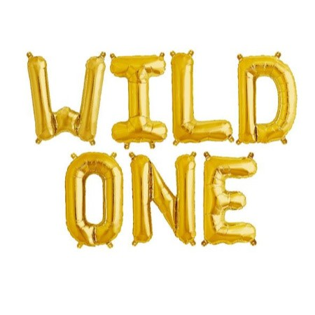 """Wild One"" Gold Foil Phrase Balloon Bunting I First Birthday Balloons I My Dream Party Shop I UK"