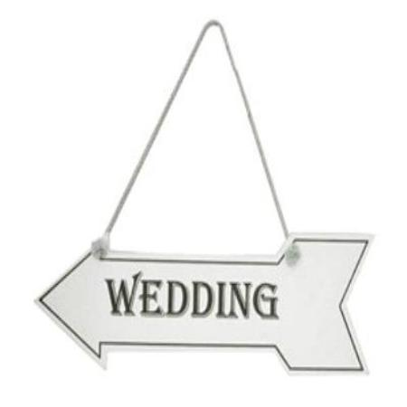 Vintage White Wooden Wedding Sign in the Shape of an Arrow