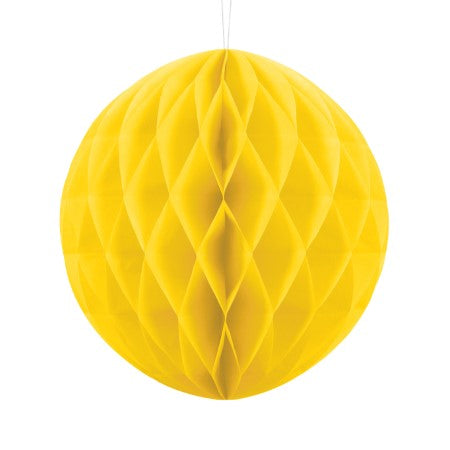 Yellow Honeycomb Ball 25 cm I Modern Yellow Party Decorations I UK