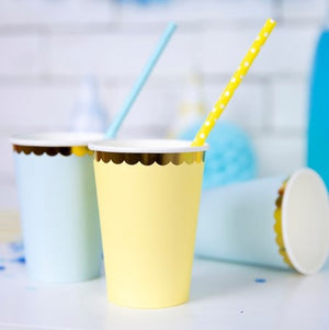 Yellow Paper Cups with Gold Edge I My Dream Party Shop I UK