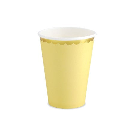 Yellow Paper Cups with Gold Metallic Edge I Pastel Tableware Party Collection I My Dream Party Shop I UK