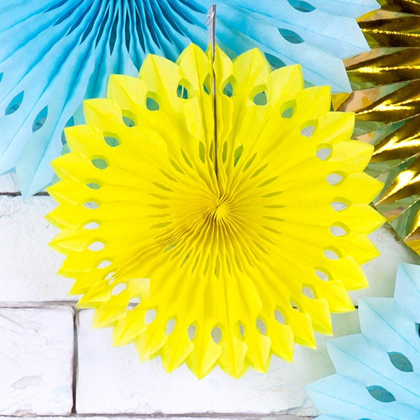 Yellow Tissue Rosette Fans I My Dream Party Shop I UK