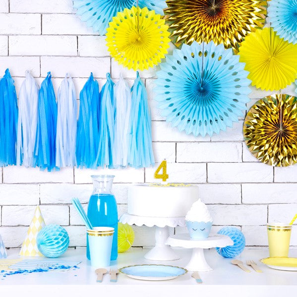 Yellow Tissue Rosette Fan Decorations I My Dream Party Shop I UK