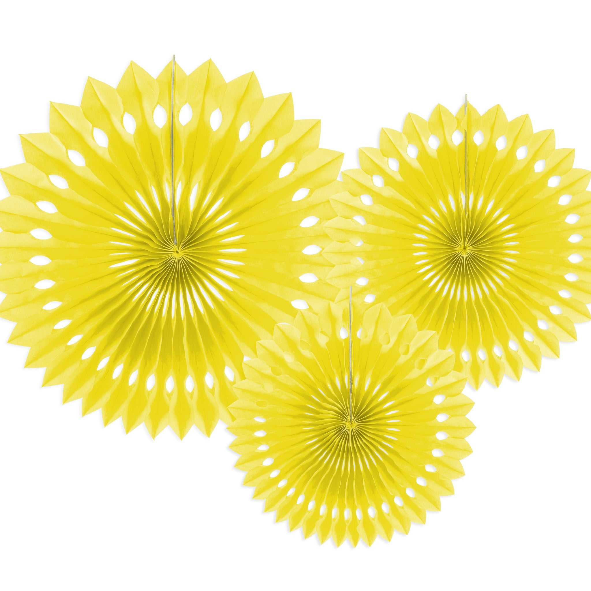 Yellow Tissue Rosette Fans Set of Three I My Dream Party Shop I UK