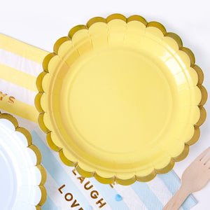 Small Yellow Plates with Gold Edge I My Dream Party Shop I UK